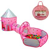 Famoy Foldable 3pc Princess Castle Play Tent, Crawl Tunnel and Ball Pit with Basketball Hoop for Boys Girls Babies Toddlers,