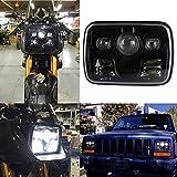 XPLIGHT 角型2灯式LEDヘッドライト 方型タイプ車&バイク適用 5x7インチ汎用型 スクエアLEDヘッドライト 1個セット DRL機能 H4-H13転換コネクター付き 防水仕様 一年保障