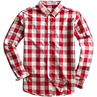 MOCOTONO Men's Long Sleeve Plaid Checked Button Down Casual Shirts