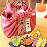 人気スイーツと和菓子のギフトセット(編み籠入り風呂敷包) ピンク風呂敷