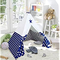 ukadouキャンバスKids Teepee子Playhouse Kids Play Tent for Boysインドアアウトドアwith Carryingバッグネイビーカラーホワイトスタースタイル