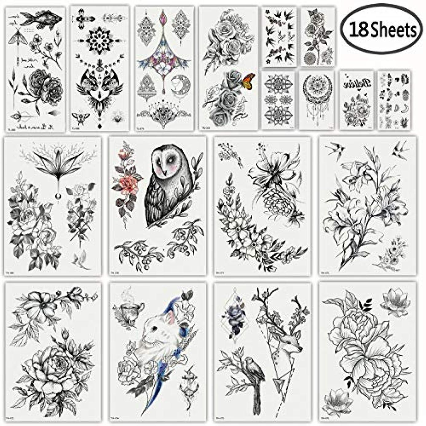 DaLinフェイクタトゥー18枚男性用女性用黒い花