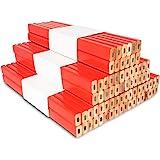 72Pcs Carpenter Pencils 7 inch Octagonal Red Hard Black Lead Carpenter Pencil Woodworking Marking Tool