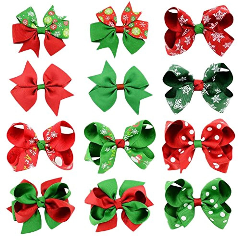 Youkara クリスマス ヘアピン 子供 ヘアクリップ ベビー リボン クリップ ギフトにぴったり 理想的な子供ヘアバンド 誕生日 プレゼント 12色をミックス (A)