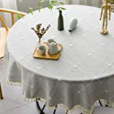 Vedouci Round Table Cloth Wrinkle Free Stitching Tassel Tablecloth Cotton Linen Round Table Cloths Washable Tablecloths for R