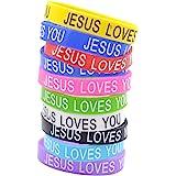 lychee Jesus Loves You Silicone Wristbands Rubber Bracelets 10X Bulk Random Color Bangle