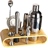 BRITOR Bartender Kit Cocktail Shaker Set -8 Piece Stainless Steel Blender with Bamboo Stand Professional Cocktail Kit Bar Set