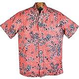 レインスプーナー メンズアロハシャツ reyn spooner オレンジ/花柄 裏生地&ボタンダウン&フルボタンタイプ (US XSサイズ)