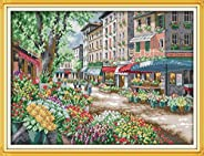 Cross Stitch Embroidery Kit Beautiful Flower Blooming Landscape Painting Beginner Embroidery Thread Needle Fab
