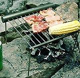 Higo 新型ミニアウトドア用焚火台 バーベキューコンロ BBQ 両用円筒収納 組み立て簡単 携帯袋付き ステンレス鋼  野菜/魚焼き/肉  室外・アウトドア用 携帯超便利