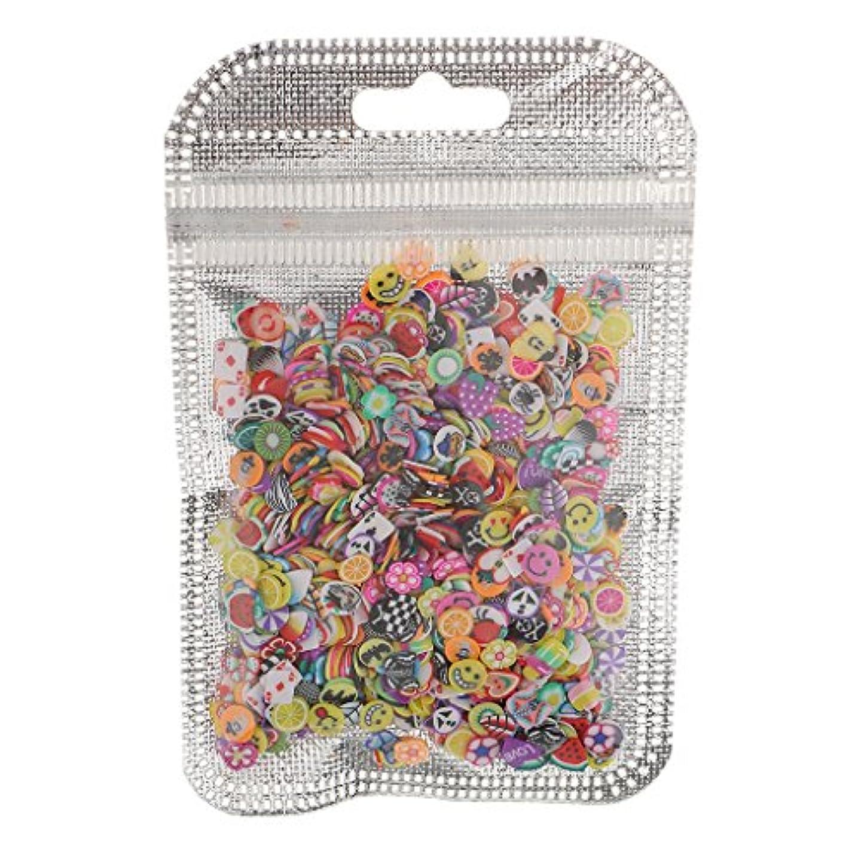 選出する見習いベアリングPerfeclan ネイルアート フルーツ スライス ポリマー ステッカー ネイル 装飾 約1000枚 直径約5mm - 混合スタイル