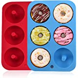 Silicone Donut Molds, 2 Pack Silicon Doughnut Mould, 6 Cavity Non-Stick Safe Silicone Donut Baking Pan for Cake Biscuit Bagel