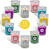 CoCo-Life Scented Candles Set Mini Glass Votive Candle Bulk Natural Soy Wax Aromatherapy Candle, 12 Pcak with 6 Fragrance