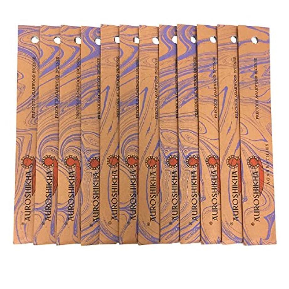イディオム祝福かわいらしいAUROSHIKHA オウロシカ(PRECIOUSAGARWOODプレシャスアガーウッド12個セット) マーブルパッケージスティック 送料無料