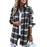 Aoysky Womens Flannel Color Block Plaid Shirts Long Sleeve Casual Mid-Length Blouses Lapel Button Up Shirts with Pockets