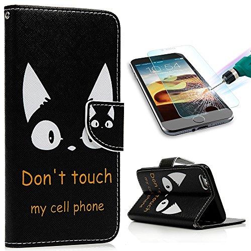 iPhone7 Plus 5.5インチ 用対応ケース おしゃれ YOKIRINR 手帳型 横開き PUレザー カード収納 スタンド機能 アイフォン7 プラス 携帯スマホカバー 耐衝撃 保護 黒地 可愛い猫