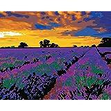 新しいです 数字油絵DIY 数字キット大人のための 塗り絵 手塗 デジタル ホーム オフィス装飾 40x50cm - 紫の花の海 (フレームなし)