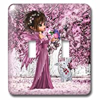 3drose LSP _ 218898_ 2ピンクWoodland Fairy Enchanted Forest with a雪ホワイトBunny–ダブル切り替えスイッチ