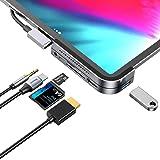 iPad Pro USB C Hub, iPad Pro 2018 Docking Station, Baseus 6-in-1 Aluminum iPad Pro Dongle USB Type-C Adapter with 4K HDMI, US