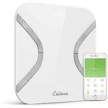 CEITURA 体重・体組成計 体脂肪計 Bluetooth 体重計 スマート体重計 体脂肪 体脂肪率 骨格筋 筋肉量 推定骨量 体脂水分 BMI iPhone/Androidアプリで健康管理 乗るだけで電源ON 日本語対応APP ホワイト 10人登録
