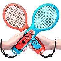 マリオテニス エース ラケット Jushoor テニスラケット 2個セット Nintendo switch Joy-Con 専用ハンドル 臨場感アップ 任天堂 switch ジョイコン 落下防止ストラップ付き 軽量ABS製 (ブルー·レッド)
