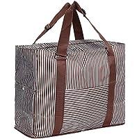 [キャット ハンド] 2WAY 折り畳み バッグ キャリー スーツケース の持ち手に通せる ストライプ 水玉 柄