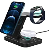 Wireless Charger ADDANY 15W Fast Wireless Charger Stand 3 IN 1 Charging Station Dock for Galaxy Watch 42/46mm;Apple Watch 6/S