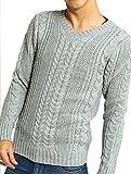 インプローブス セーター フィッシャーマン ケーブル編み Vネック ニット メンズ A グレー Sサイズ