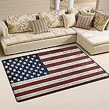 バララ(La Rose) ラグ カーペット マット 洗える おしゃれ 滑り止め 絨毯 アメリカ 国旗 ホットカーペット ウォッシャブル 心地よいサラふわ触感 折り畳み可 床暖房 対応 約幅152x99cm