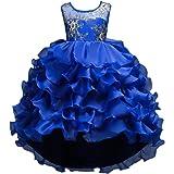 IWEMEK Girls Vintage Ruffle Lace Tulle Flower Girl Dresses Junior Bridesmaid Bow Princess Gown Party Wedding Trailing Dress