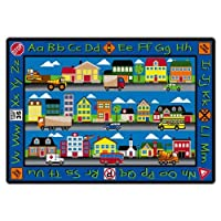 Flagship Carpets FE260-32A Our Town Rug Features Letters Transportation Signs and Buildings Children's Classroom Educational Carpet 6' x 8'4 72 Length 100 Width Blue/Multi-Color [並行輸入品]