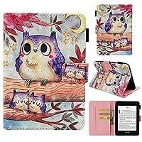 Amazon Kindle Paperwhite 1 2 3 4 カバー, Moonmini シェル 男性用 緩衝器 ケース の Moonmini Purple Owl