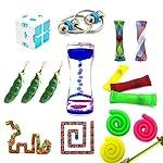 Zhengshion 16 Pack Fidget Toys Bundle-Fidget Chain/Infinity Magic Cube/Liquid Motion Timer/Squeeze Bean Toys/Wacky Tracks...
