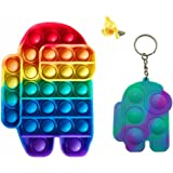 Colorful Among in Us Push Popping Bubble Sensory Fidget Toy, Stress Reliever Squeeze Toy (Human Shape, Rainbow)