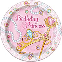 23cm Pink Princess Party Plates, Pack Of 8
