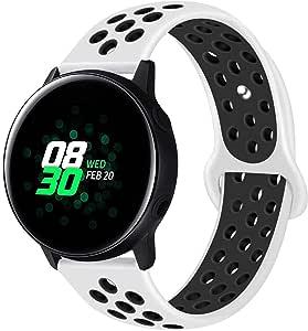 AIGENIU 時計バンド 柔らかく多空気穴通気性のシリコン スポーツ バンド 取付幅20mmのスマートウォッチと伝統的な腕時計交換用バンド (20mm, 白&黒)