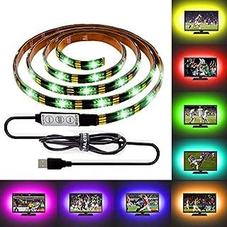 ALOTOA 150CMテレビテープライト USB接続、TV/PC/キャビネット/キッチン/デスク/バーなど適用RGB20色装飾的なLEDライト、両面テープで好きな場所に貼り付けるイルミ照明、防水仕様のでバルコニー/釣り/バイク/キャンプなども適応