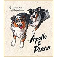 Printon 愛犬ペットの肖像画(二頭 / 身体全体) 色紙サイズ (デジタル水彩) 作画行程表付き 似顔絵