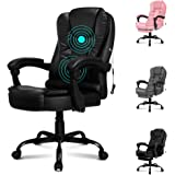 ALFORDSON Massage Office Chair Home Computer Desk Executive Swivel Chair in Black Colour PU Leather(Black)