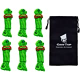 (Green) - GEERTOP 4mm Reflective Cord Guy Line Tent Guide Rope with Aluminium Adjuster - 4m 6 Pack for Camping …