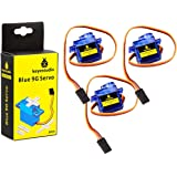 KEYESTUDIO SG90 9G Micro Servo Motor Robot Arm Helicopter Airplane Fans RC Toys with Blue Color (3pcs) for Arduino MEGA, R3,