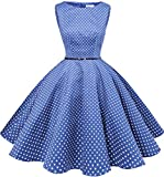 Bbonline Dress レディーズ 水玉柄 ノースリーブ ベルト付き 純色 花柄 ワンピース お呼ばれ 結婚式ドレス 発表会ドレス ロイヤルブルー小柄ドット XS