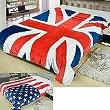 OHMI 国旗 柄 オシャレ 毛布 シングル ~ ダブル サイズ 用 ( ユニオンジャック 英国 イギリス )