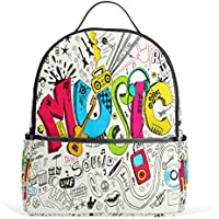 Mydaily Funny Music Graffiti Doodle Backpack for Boys Girls School Bookbag