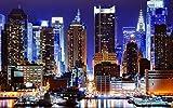 絵画風 壁紙ポスター (はがせるシール式) タイムズスクエアの夜景 ニューヨークの夜景 キャラクロ NYK-023W2 (ワイド版 603mm×376mm) 建築用壁紙+耐候性塗料