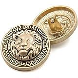 10PCS Clothes Buttons - Fashion Lion Head Sewing Button Round Shaped Metal Button Set for Men Women Blazer, Coat, Uniform, Sh