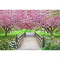 Xbwy カスタム3 D壁画、美しい桜の小さな橋風景壁紙壁画3 D、リビングルームのソファの壁の寝室-200X140Cm