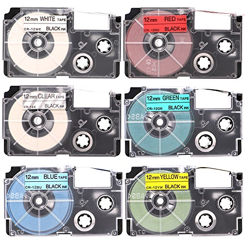 ネームランド テープ 12mm XR-12WE XR-12RD XR-12BU XR-12GN XR-12YW XR-12X 互換 カシオ ラベルライター テープカートリッジ 白 透明 赤 黄 靑 緑/黒文字 6色セット