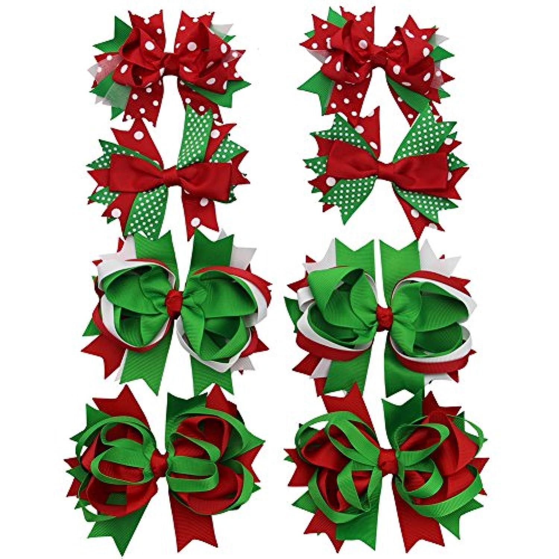 qtgirl 4 – 8個ミックスクリスマスヘアリボンクリップfor Baby Girls Teens Festivalヘアアクセサリーバレッタ