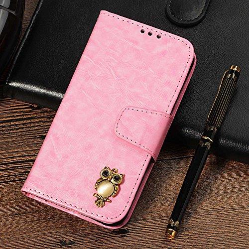 CUSKING Galaxy S4 手帳型 ケース、ギャラクシ S4 スマホケースPUレザー フリップ ノート型 ストラップ付き カード収納付き 保護ケース - ピンク